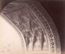 Agra. Itimad-ud-daulah's Tomb. Detail of carved soffit of arched entrance, from the interior 619